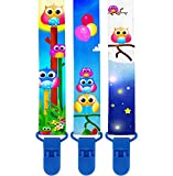 Premium Pacifier Clips by KiddosArt. Set Of 3, 2-Sided Of OWLS Art, Stunningly Designed Pacifier Holder, Pacifier Leash, Baby Pacifier Clips for Girls and Boys. Baby Shower Gift.