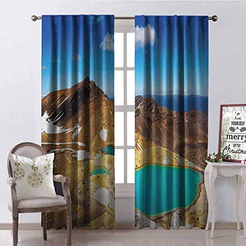 Gloria Johnson New Zealand Wear-Resistant Color Curtain Tongariro National Park Emerald Lakes and Mountains Natural Tourist Attractions Waterproof Fabric W52 x L54 Inch Multicolor