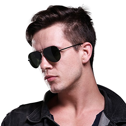 MT.MIT Classic Aviator Polarized Metal Frame Sunglasses 100% UV Protection (Black)