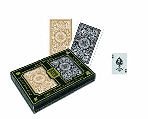 KEM Arrow Black and Gold, Poker Size- Standard Index Playing Cards (Pack of 2)