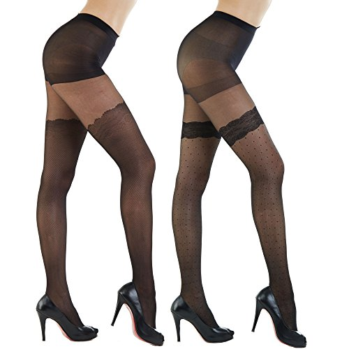 Womens Patterned Footed Tights Pantyhose