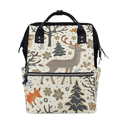 ALAZA Xmas Owl Deer Diaper Bags Mummy Backpack Multi Functio