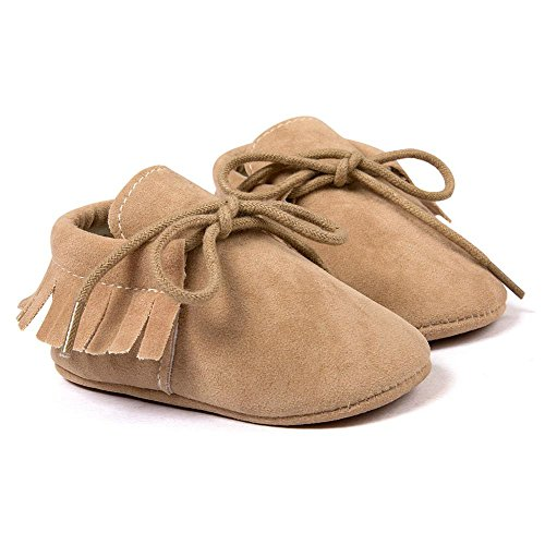 R&V Unisex Infant Baby Boys' Girls' Moccasins Soft Sole Tassels Prewalker Anti-Slip Toddler Shoes (S:0~6 months, Nude)