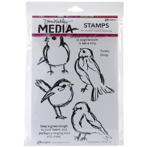 Dina Wakley Media Rubber Scribbly Birds Cling Stamps, Multi-Colour by Ranger by Ranger