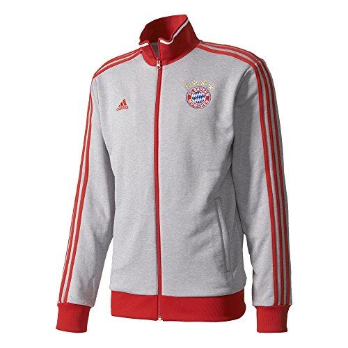 adidas Men's Soccer Barcelona 3 Stripe Track Top, Medium Grey Heather/Fcb True Red, (Bayern Munich 3 Stripe)