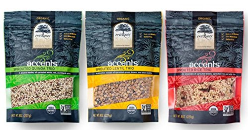 truRoots Accents Gluten-Free Sprouted Grain Blends 3 Flavor Variety Bundle: (1) Sprouted Quinoa Trio, (1) Sprouted Lentil Trio, and (1) Sprouted Rice Trio, 8 Oz. Ea. by truRoots