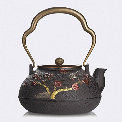 - Ahui Japanese Style Cast Iron teapot Boiled Water Health No Coating Pure Manual Copper Cover Brass Handle Gilt Vintage Collection Plum Volume 1.4L