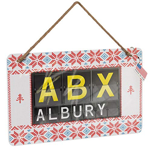 NEONBLOND Metal Sign ABX Airport Code for Albury Vintage Christmas Decoration