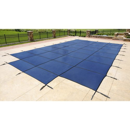 (Blue Wave 16-ft x 32-ft Rectangular In Ground Pool Safety Cover w/ 4-ft x 8-ft Center Step - Blue)