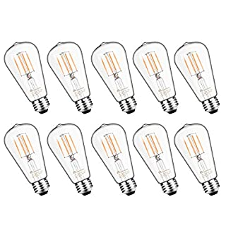 Mastery Mart Vintage LED Light Bulb, Glass ST21 Antique Edison Style, Dimmable 5.5W (60 Watt Equivalent), 500LM 2700K Soft White, E26 Decorative Filament Bulb, UL and Energy Star, 10 Pack