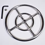 Celestial Fire Glass Round Fire Pit Burner Ring, Stainless Steel, Single Ring