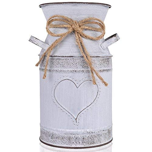 "IDoall 7.5"" High Decorative Vase with Unique Heart-Shaped and Rope Design, Galvanized Finish- Rustic Decorated for Living Room, Bedroom, Kitchen (Grey)"