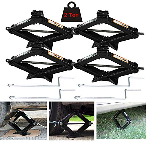 (Xinner 4pcs 2 Ton Portabel Car Scissor Jack Max Extend to 384mm Max Load 4000lbs Capacity for Tire Change Car Jacks Rust Proof with Handle)