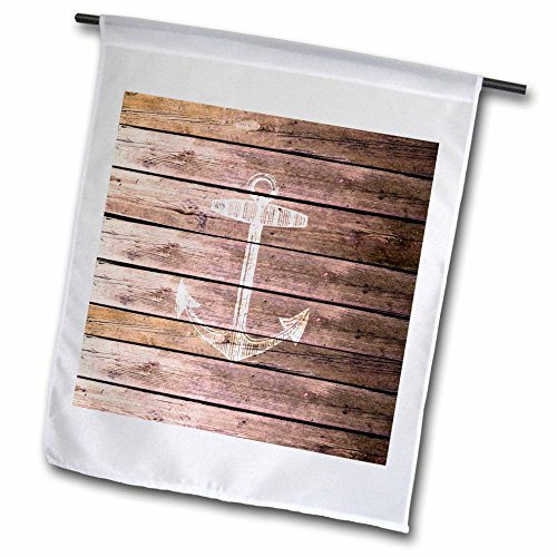 (3dRose fl_120205_1 White Anchor Stamp on Wood Texture Graphic Print-Not Actually Wooden-Brown Grunge Nautical Theme Garden Flag, 12 by 18-Inch)