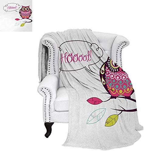 (Lightweight Blanket Ornate Colorful Owl on The Branch Observing Flat Face Myst Animal Artsy Image Custom Design Cozy Flannel Blanket 90