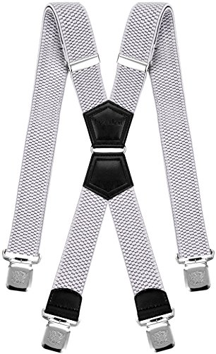 Buttons Baby Accessories Shops - Mens Suspenders X Style Very Strong Clips Adjustable One Size Fits All Heavy Duty Braces (Baby Blue)