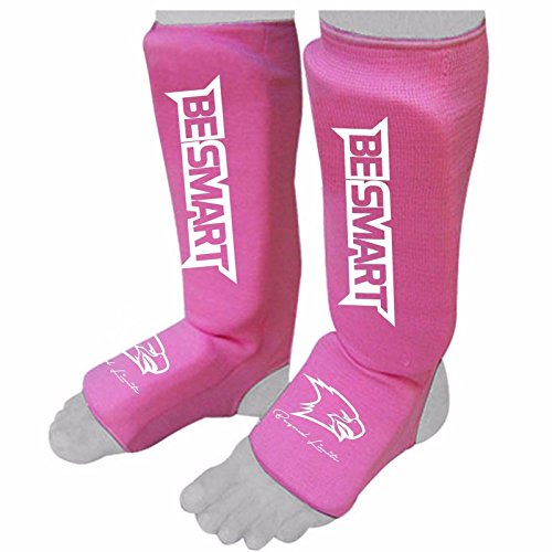 Mma Shin Instep Guards - Kids Shin Instep Pads MMA Leg Foot Guards Muay Thai Kick Boxing Guard Protector (Pink, XXS ( 9 to 13 Years ))