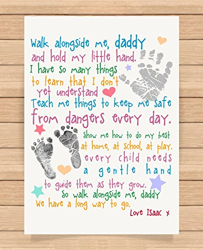 Personalised Presents Gifts For Daddy Dad Father From Son Daughter Newborn Toddler Kids Poem 1St First Fathers Day Birthday Christmas Xmas Walk Alongside Me