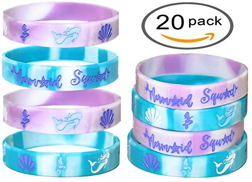 20 pcs MERMAID Party Favors Wristband, Under the Sea party favors, Birthday Jewelry Toy Party Supplies Cute Gift Pinata Filler Halloween Gift (Choose between Adult or Kids size). (Mermaid, Kids)