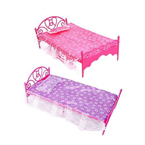 Topseller Plastic Mini Bed with Pillow and Sheet for Barbie Dolls Dollhouse