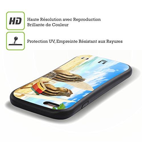 Head Case Designs Chipmunk Surf Buddies Funny Animals Hybrid Gel Back Case for Apple iPhone 5 5s