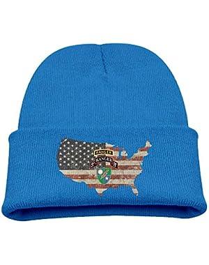 3rd Battalion, 75th Ranger Regiment with Ranger US Flag Boy Girl Beanie Hat Knitted Beanie Knit Beanie