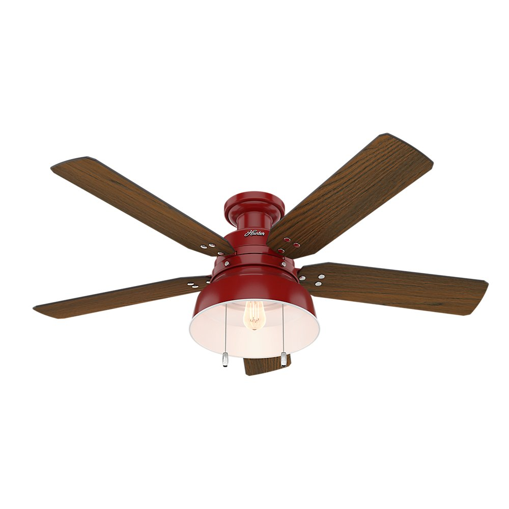 """Hunter 59312 Mill Valley 52"""" OTH867 Ceiling Fan with Light, Large, Barn Red"""