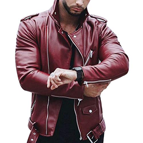 Zippé Rouge Fashion Veste Automne Slim Fit Coat De Printemps Dihope Motard Vin Longue Homme Top Manteau Manche Outwear Blouson Jacket wIqWfFH