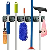 RockBirds T56 Wall Mounted Mop and Broom Holder, storage solutions for broom holders, garage storage systems broom organizer, Lifetime Guarantee (Gray )