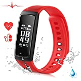 Ablue Smart Bracelet, Pedometer Heart Rate Monitor Sleep Monitor Calorie Counter Pedometer Sport Activity Tracker With HD OLED Touch Screen for Android and IOS Smart Phone (Red)