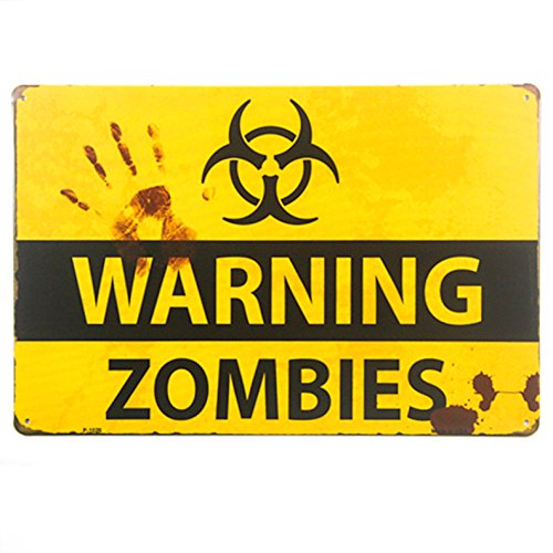 dingleiever DL-Shabby Chic Retro Zombie Warning Signs Halloween Posters Outbreak -