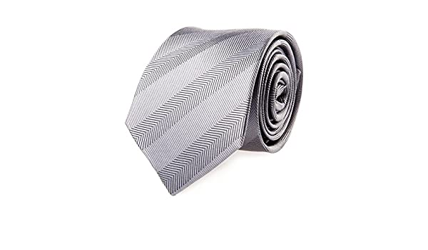Pelo Corbata de seda a rayas de espina de pescado de color gris 7 ...