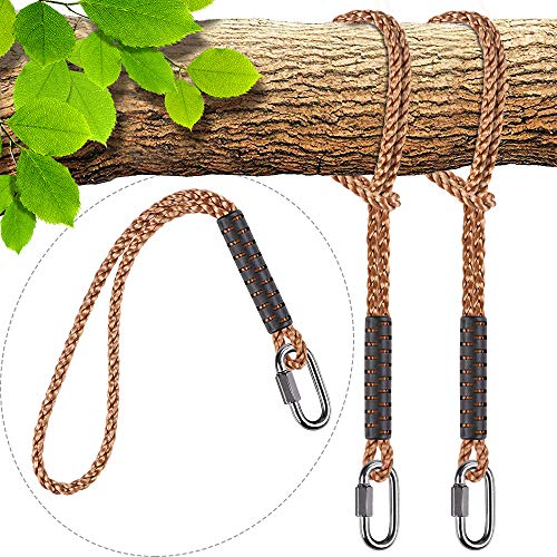 SELEWARE Hammock Straps, Tree Swing Rope, Hammock Chair Hanging Rope Kit W/Stainless Steel Carabiner Snap Hook Holds to 1000lbs, for Outdoor Playground Swings Hammock Yoga Boxing, 4 ft, 2 Pack
