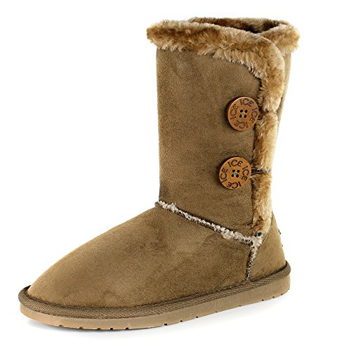 Women's Twin Button Fully Fur Lined Waterproof Winter Snow Classic Boots