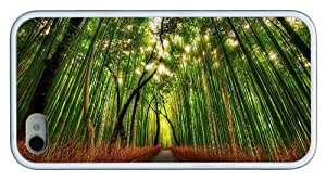 Hipster cool iPhone 4S case bamboo forest road TPU White for Apple iPhone 4/4S