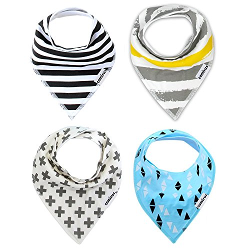 Baby Bandana Drool Bibs By CAMIRUS, Unisex 4-Pack Set Absorbent Organic Cotton, Adjustable Snaps, Cute Baby Teething Burp Cloths for Boys & Girls Christmas Gift(Black/Gray/Blue)