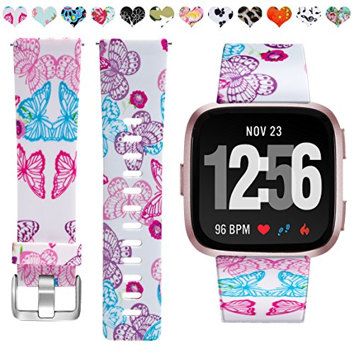 Maledan Compatible with Fitbit Versa Bands,Paisley Pattern, Butterfly, Small