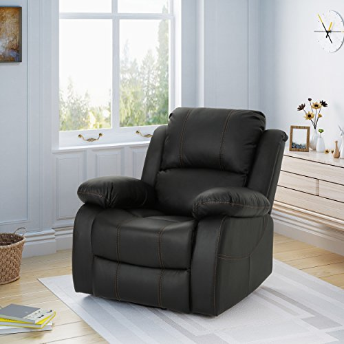 Lilith Classic Leather Gliding Swivel Recliner, Black