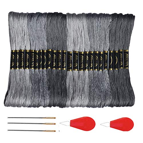 - Premium Grey Embroidery Floss - Cross Stitch Threads - Friendship Bracelets Floss - Crafts Floss- Hand Embroidery Thread 24 Skeins Per Pack and Free Set of 3Embroidery Needles and 2 Needle Threader