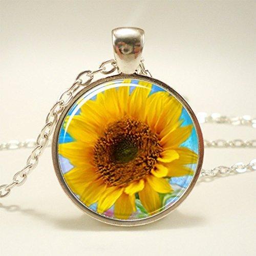 Amazon sunflower necklace botanical jewelry flower pendant sunflower necklace botanical jewelry flower pendant aloadofball Image collections