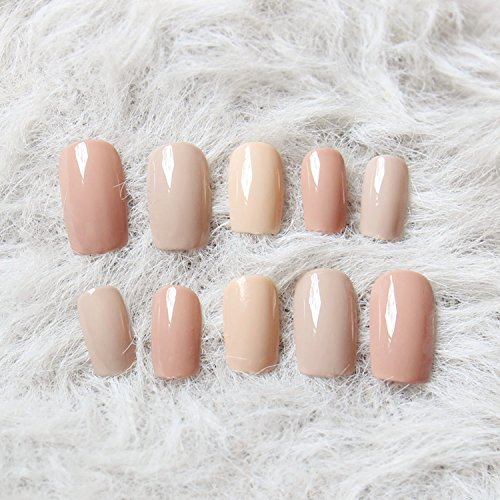 3 Nude Colors Fake Nails 24Pcs Long Solid Square unhas for Daily Office with Glue Sticker Women Nail Art Tool