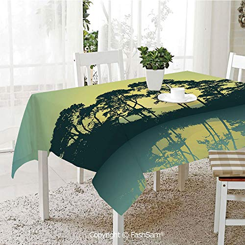 FashSam Party Decorations Tablecloth Mystic Forest with Trees Abstract Mountain View and Lake River Print Dining Room Kitchen Rectangular Table Cover(W55 xL72) ()