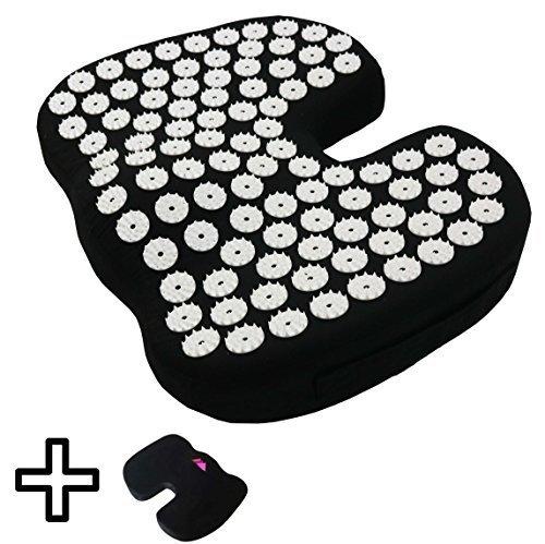 FOMI Orthopedic Coccyx Cushion plus Acupuncture Mat. Back Pain Relief. Memory Foam + Acupressure Mat = Unique Healing Sensation. Place Acupressure Mat on top of cushion for unique sensation.