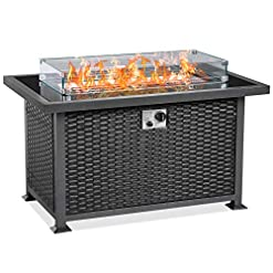 Fire Pits U-MAX 44 Inch Outdoor Auto-Ignition Propane Gas Fire Pit Table, 50,000 BTU CSA Certificate Gas Firepit Aluminum Frame… firepits
