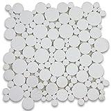 Thassos White Greek Marble Bubble Round Mosaic Tile Polished