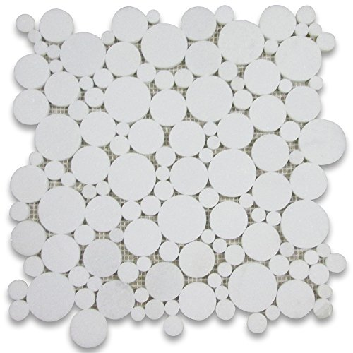Thassos White Greek Marble Bubble Round Mosaic Tile Polished -