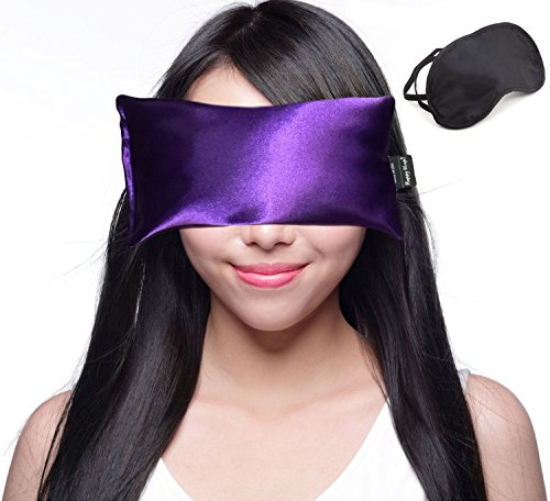 Happy Wraps Lavender Eye Pillow Hot Cold Aromatherapy Weighted Eye Pillows for Sleeping Yoga Migraines Stress Relief Gifts for Women Men and Christmas Plus Free Eye Mask - Made in USA - Amethyst