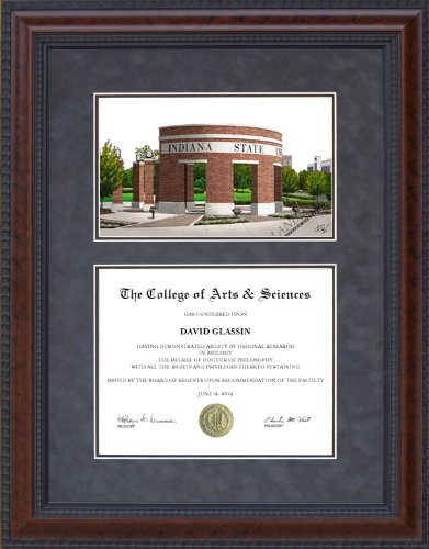 (Diploma Frame with Indiana State University (ISU) Campus Lithograph - 5 x 7 vertical (portrait) diploma)