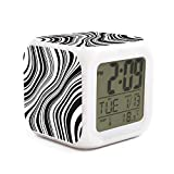 zdhkckao LED Display Alarm Clock 7 Colors Switch Distortion Dizziness Kids Boy Sleep Trainer Hours for Heavy Sleepers Loud Alarm Clock Well Functional Large Seiko Alarm Clock