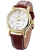 Orkina Mens White Dial Coffee Leather Date Sport Quartz Wrist Watch Gift ORK046